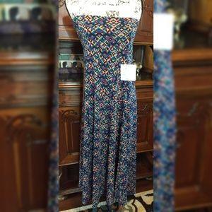 Lularoe 2xl Maxi dress skirt geometric purple teal